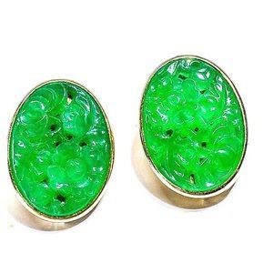 Vintage Ornate Emerald Carved Glass Earrings